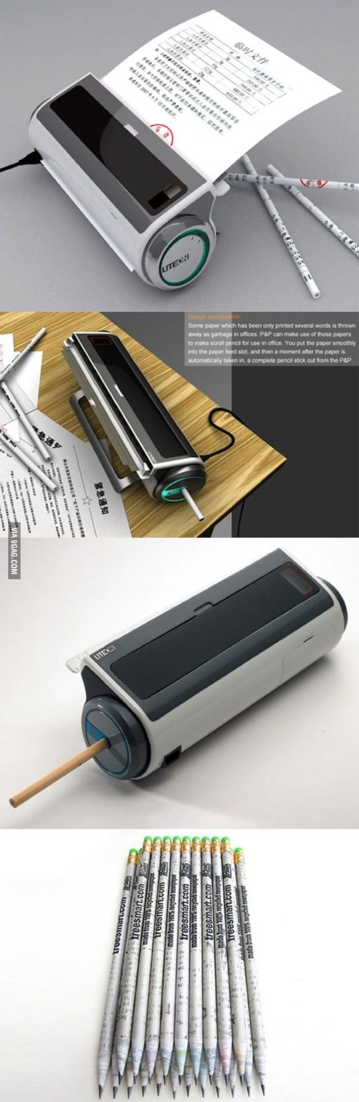 Recycling machine turns papers into pencils.