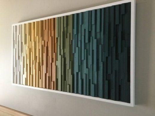 Wood wall art-modern wood art- wood wall sculpture- wall hanging- hospitality decor- dimensional wood art-ombré wall art- wall decor