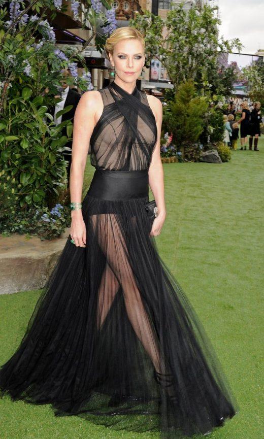 Charlize wore sheer black Christian Dior dress May 2012 UK