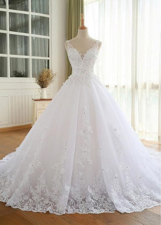 Magbridal Luxury Tulle V-neck Neckline Ball Gown Wedding Dresses With Beaded Lac…