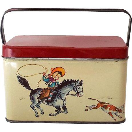 Vintage Tin Litho Lunchbox Cowboy & Cowgirls