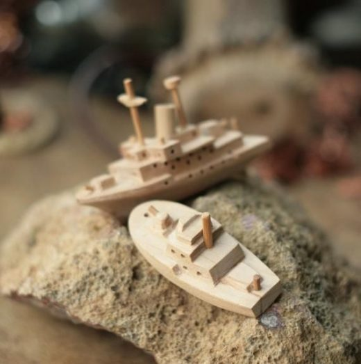 Wooden sea boat, aircraft carrier, wood ship model, collectible figurine, gift for him, handcarved figure, vintage model, eco friendly toy