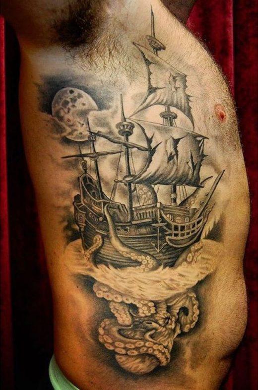 95+ Beste Piratenschiff Tattoo Designs & Bedeutungen – Masters of the Seas (2018