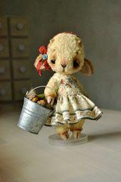 Artist Teddy Bear toy artist rabbit bunny toy home decor toy Stuffed bunny rabbit toy Stuffed animal toy teddy ooak collectible animal toy