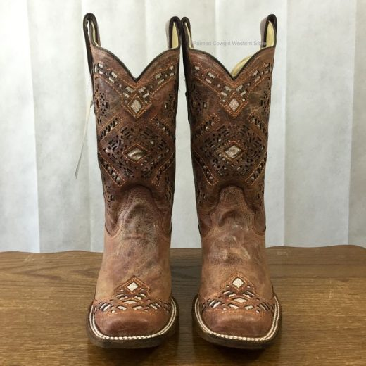 Corral Gals&#39s Brown Glitter Square Toe Cowgirl Boots A3120