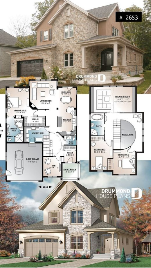 European luxury house plan, 3 to 4 bedrooms, open stairwell, 2-car garage