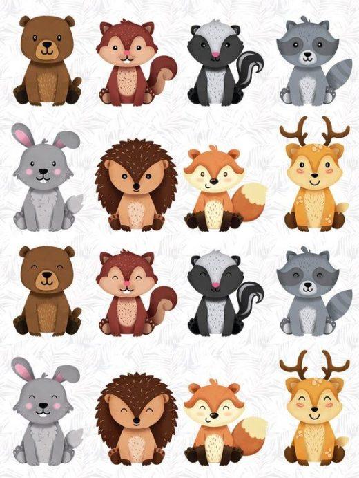 Woodland animals Clipart, Forest Friends sticker, animal buddiess, friendly animal, woodland nursery decor, woodland animal baby