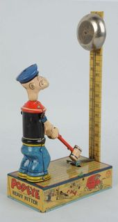 Chein Tin Litho Wind-Up Popeye Heavy Hitter Toy – marked 1932 King Features Synd…