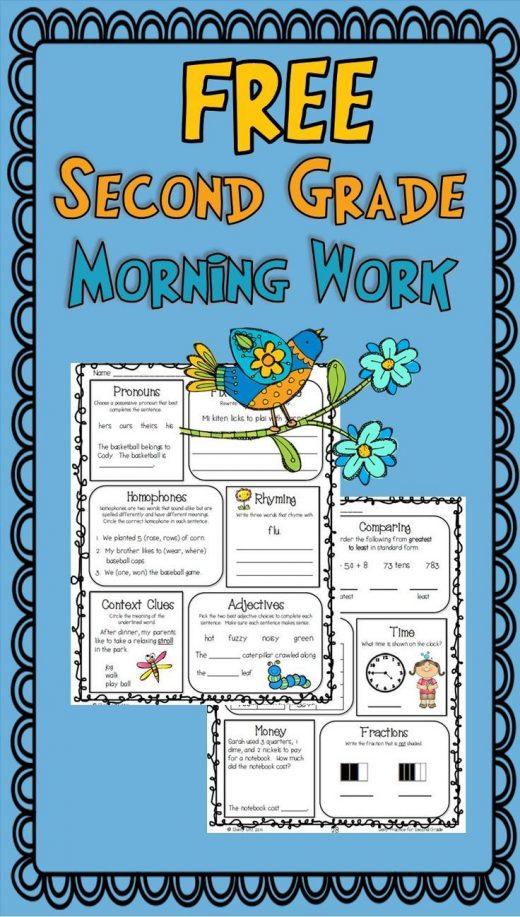 FREE morning work or homework for second grade-math and language arts spiral review-context clues, telling time, fractions, adjectives, rhyming, comparing numbers, and more