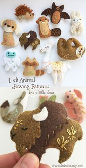 Find your Spirit Animal mini felt plush sewing pattern at www.littledear.et… #…