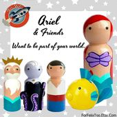 The Little Mermaid Peg Doll Collection, Cake Topper, Wooden Toy,