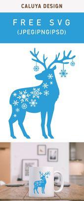 Free Snow Flake Reindeer SVG, PNG, EPS