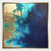 Gold Leaf Land & Sea Print Framed Wall Art: Blue – Medium by World Market