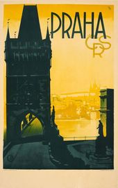 Unknown – Original Vintage Prague Travel Poster Praha Czechoslovakia Old Town Bridge View
