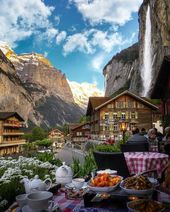 Having lunch under Staubbach Falls in Lauterbrunnen, Switzerland.