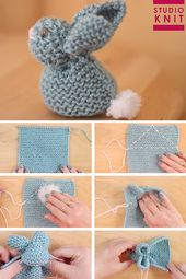 How to Knit a Bunny from a Square with Video Tutorial