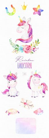 Rainbow Unicorn. Watercolor magic clipart, pink, rainbow, girls, princess, stars, glamour, flowers, kids, nursery, baby-born, baby-shower