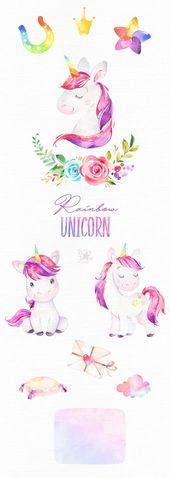 Rainbow Unicorn. Watercolor magic clipart, pink, rainbow, girls, princess, stars, glamour, flowers, kids, nursery, baby-born, baby-shower
