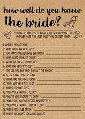 Wie gut kennst du sie, Bridal Shower Spiele Ausdrucke, Bridal Shower Spielidee, …