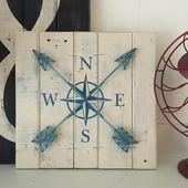 COMPASS DECOR, 14.5″x14″, World Travel Decor, String art compass, Compass rose art, nautical string art, nautical art