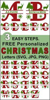 Christmas Clip Art Alphabet Letters (FREE Personalize Online Designs)