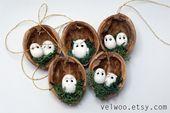 Eule Ornament Set – rustikale Weihnachtsdekorationen – Tier Ornament – Nussbaum Ornament – Nussschale Weihnachtsbaum Ornament – Weihnachtsschmuck