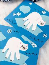 Handabdruck-Eisbär-Handwerk für Winter