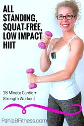 15 Minute LOW IMPACT, Squat-Free, All STANDING Full Body HIIT Workout with Dumbbells for BEGINNERS • Pahla B Fitness