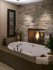 60 Master Bathrooms with a Fireplace (Photos)