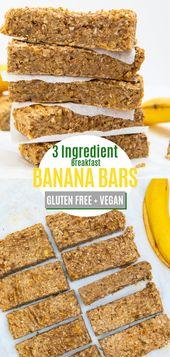 Breakfast Banana Bars – 3 ingredients Gluten Free & Vegan