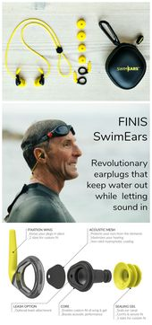 Finis SwimEars feature a revolutionary new design that let sound in while keepin…