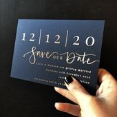Navy and rose gold save the date
