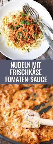 Nudeln mit Frischkäse-Tomaten-Sauce (Nur 15 Minuten!) – Kochkarussell