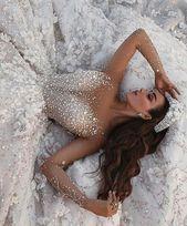 Royal Long Sleeve Lace Applique Crystal Flowers Wedding Dress Luxury