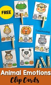 Animal Emotions Clip Cards