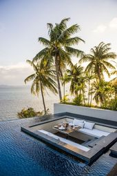 Use the proximity of the pool to the cliff- thin edging makes the water look end…