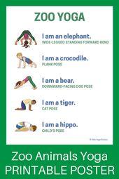 5 Zoo Yoga Poses for Kids (Printable Poster) – Kids Yoga Stories | Yoga stories for kids