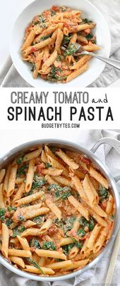 Creamy Tomato and Spinach Pasta – with VIDEO – Budget Bytes