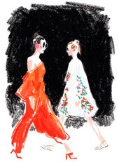 The illustrator Damien Florébert Cuypers draws the models, designers, buyers, b…
