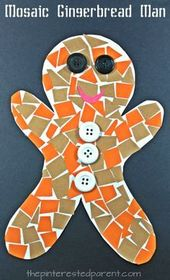 Construction Paper Gingerbread Man Mosaic – The Pinterested Parent