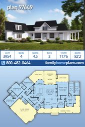 Southern Farmhouse Plan #97649 with 4 Beds, 4.5 Baths, Great Outside Space and Walk-out Basement