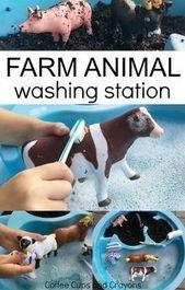 Washing Farm Animal Sensory Bin   Coffee Cups and Crayons