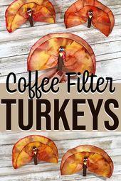 Coffee Filter Turkeys Thanksgiving Craft for Kids