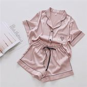 Pajamas for Women Silk Home Wear Short Sleeve Loungewear
