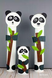Paper roll panda craft – zoo animal craft for kids