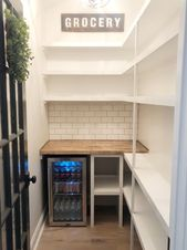 A walk in pantry makeover from builder grade to organized functionality.