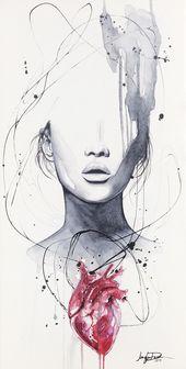 Fine Art Watercolor Print Giclee HEARTACHE by Jen Duran