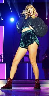 Leggy Taylor Swift dazzles at Capital FM Jingle Bell Ball set.