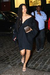 Rihanna legs it through New York in edgy black dress and silver heels