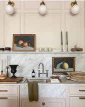 """Livingetc magazine on Instagram: """"Such beautiful detailing in this kitchen by @jeanstofferdesign, especially the marble panel that implies a butler sink, masking something…"""""""